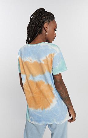 Camiseta Feminina de Malha com Gola Careca Tie Dye 3 cores