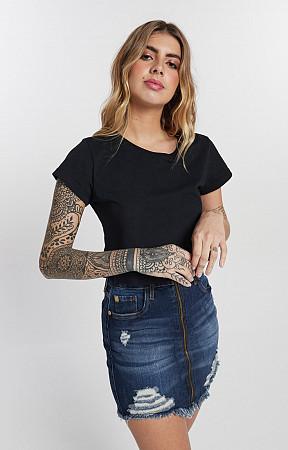 Cropped Feminino de Malha com Gola Careca Reativo