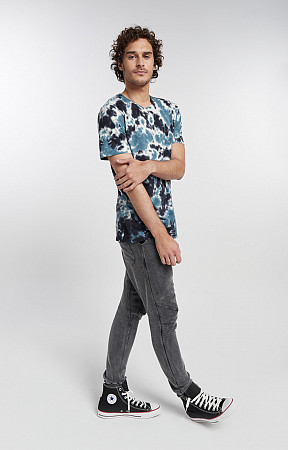 Camiseta Masculina de Malha com Gola Careca Tye Dye 2 cores