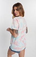 Camiseta Feminina de Malha com Gola Careca Tie Dye 2 cores